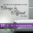 ALWAYS be DIFFERENT Coco Chanel girl CC fashion quote wall art sticker decal