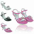 GIRLS PARTY STRAPPY SANDALS DIAMANTE LOW KITTEN HEEL PLATFORM SHOES SIZE 12 TO 4