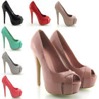 NEW WOMENS PLATFORM HIGH HEEL WOMENS PEEP TOE COURT SHOES PATENT HEELS SIZE 3-8
