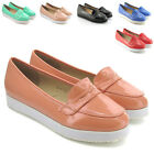 NEW WOMENS CREEPER LOAFERS LADIES FLAT PUMPS CASUAL BROGUE PLATFORM SHOES SIZE