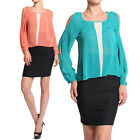 MOGAN 2 Tone COLD SHOULDER CHIFFON BLOUSE Cut Out Bishop Sleeve Pleated Top