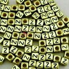 """Z"" Gold Cube Alphabet Letter Acrylic Plastic 6x6mm (1/4"") Spacer Beads"
