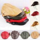Unisex Punk PU Leather Hat Newsboy Driver Golf Driving Flat Cabbie Cap Black Red
