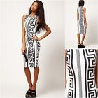 ASOS Bodycon Dress In Rocco Print In Black / White  (rst1)