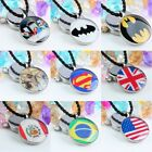 Luxury Round Coin Stainless Steel Charm Pendant Bead Fits Necklace USA UK Flag