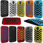 For Samsung Galaxy S4 S IV Rubber IMPACT HEX HYBRID Case Phone Cover Accessory