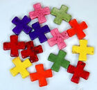 30mm Colorful Turquoise Cross Beads 15""