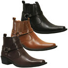 US Brass EASTWOOD Mens Cuban Heel Ankle Western Leather Look Cowboy Boots