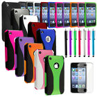 Color 3-Piece Hybrid Hard Rubberized Case Cover For iPhone 3 3G 3GS+Film+Stylus