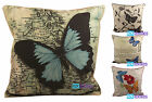 "Tapestry Linen Butterfly Cushion Cover, Scatter Cushions, 18""x18"""