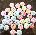 20 x Wooden Gingham Check Buttons Shabby Chic 15mm - 2 holes - various colours