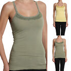 TheMogan SEQUINED Scalloped Trim Camisole TANK TOP Sleeveless Layering Tee