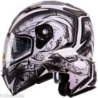 Dual Visor Modular Flip Up Matte White Demon Motorcycle Snowmobile Helmet DOT