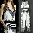 NEW Women's Latest Rompers Europe Stylish Leisure Jumpsuit with Belt Long pants