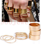 9pc/Set New Urban Shiny Metal Stack Above Midi Knuckle Mini Ring Gothic