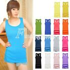 Sexy Women's Candy Color Vest Dress Long T-Shirt Sleeveless Hip Length Tank Top