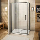 New Shower Enclosure Sliding Door 6mm Glass Cubicle Screen Side Panel Stone Tray