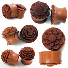 """Wood Flower Ear Plugs 0G - 1"""" Sunflower Rose Lotus Blossom Natural Carved New US"""