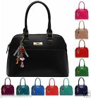 Womens Ladies Celebrity Style Designer Faux Leather MattTote Handbag With Charms