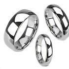 2 to 8 mm Tungsten Dome Silver High Polished Classic Unisex Wedding Ring