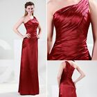 Satin Maxi Formal Bridal Bridesmaid Dress Ball Gown Evening Prom Party Cocktail
