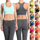MOGAN Plain Seamless RACERBACK Cropped TANK TOP Yoga Gym Active Sports Bra S/M/L