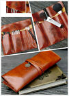 High quality synthetic leather Vintage Brown bundled pen bag    cosmetic bag