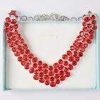 Charms Silver Tone Chain Trigon&Oval&Round Resins Rhinestone Necklace + Gift Box