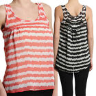 TheMogan Knotted Back Stripe HIGH LOW TANK BLOUSE Sheer Racerback Top