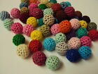 5 x Crochet Wool Woven Beads, 16mm Round ~ Choose Colour Mix