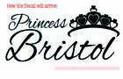 Princess with crown Wall Name Sticker Vinyl Decal Girls Room Decor Removable