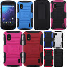 For LG Google Nexus 4 E960 Rugged Hybrid Stand Holster Rubber Hard Case Cover