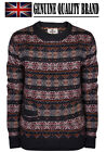 Mens Bellfield Wool Mix Knitted Jumper Gents Elbow Patch Fairisle Winter Sweat