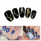 Metallic Gold & Silver Zipper Zips Bows Laces Nail Art Stickers Decals Transfers