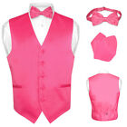 Men's HOT PINK FUCHSIA Dress Vest BOWTie Set for Suit or Tuxedo