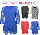 NEW LADIES PLUS SIZE FLORAL LACE DETAIL LONG TOP WOMENS PARTY DRESS SIZE 14-32