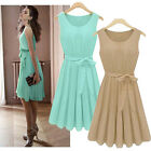 Ladies Chic Womens Casual Sleeveless Vest Pleated Waistband Skirt Casual Dress