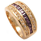 New18ct Gold Filled Black Onyx, Red Ruby & Amethyst  Universal Fashion Ring