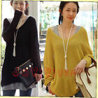 Women's V-neck Oversized Batwing Slouchy Knitted Shirt Jumper Loose Sweater Tops