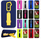 For LG G2 4G LTE IMPACT Hard Rubber Case Phone Cover Kickstand Accessory
