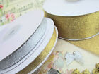 "25 yards Metallic 3/8"" Christmas Holiday Gift Ribbon/Craft R75-38-Gold/Silver"
