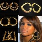 Large Bamboo Earrings Hip-hop Gold Ladies Hoop Bling Circle 9cm