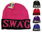 SWAG Long Beanie Hat, Designer Slouch Black Logo Hats, Limited Edition