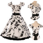 Vintage Printed Swing 60s Housewife pinup Dress Cocktail Evening Prom Party Gown