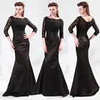 2015 New Fashion 3/4 Sleeve Black Lace Floor Length Formal Evening Party Dresses