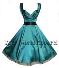 BEAUTIFUL H&R LONDON TEAL GREEN SATIN PARTY 1950's  DRESS VINTAGE MARILYN PROM