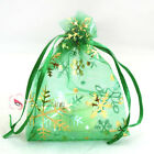 Gold Snowflake Green Organza Wedding Favour Gift Bags Pouches 7x9,9x12,13x17cm