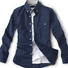 New arrival for Mens casual Dress 2Button collar design Navy chic shirts 3-size