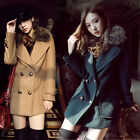 Womens Thicken Fleece Warm Winter Faux Fur Collar Woolen Long Coat Jacket 3Color