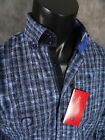 NWT! Mens Button-up Woven PAISLEY by GEORG ROTH Sport Shirt in Blue Plaid